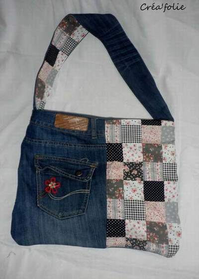 Sac jean vanessa bruno sac jean paul gauthier sac en jean fait main - Faire un sac avec un jean ...